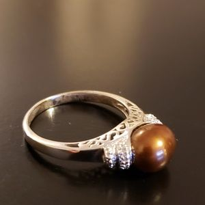 💕Brown Pearl Sterling Silver Ring